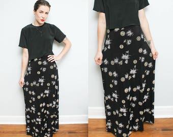 90s Long Black Nylon Skirt // Large High Waist Stretchy Maxi Skirt // Grunge Cyber Asian Print Minimalist