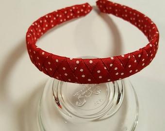 Red dotted grosgrain ribbon woven headband; Valentines Day headband; holiday headband; adult headband; braided headband; hair band