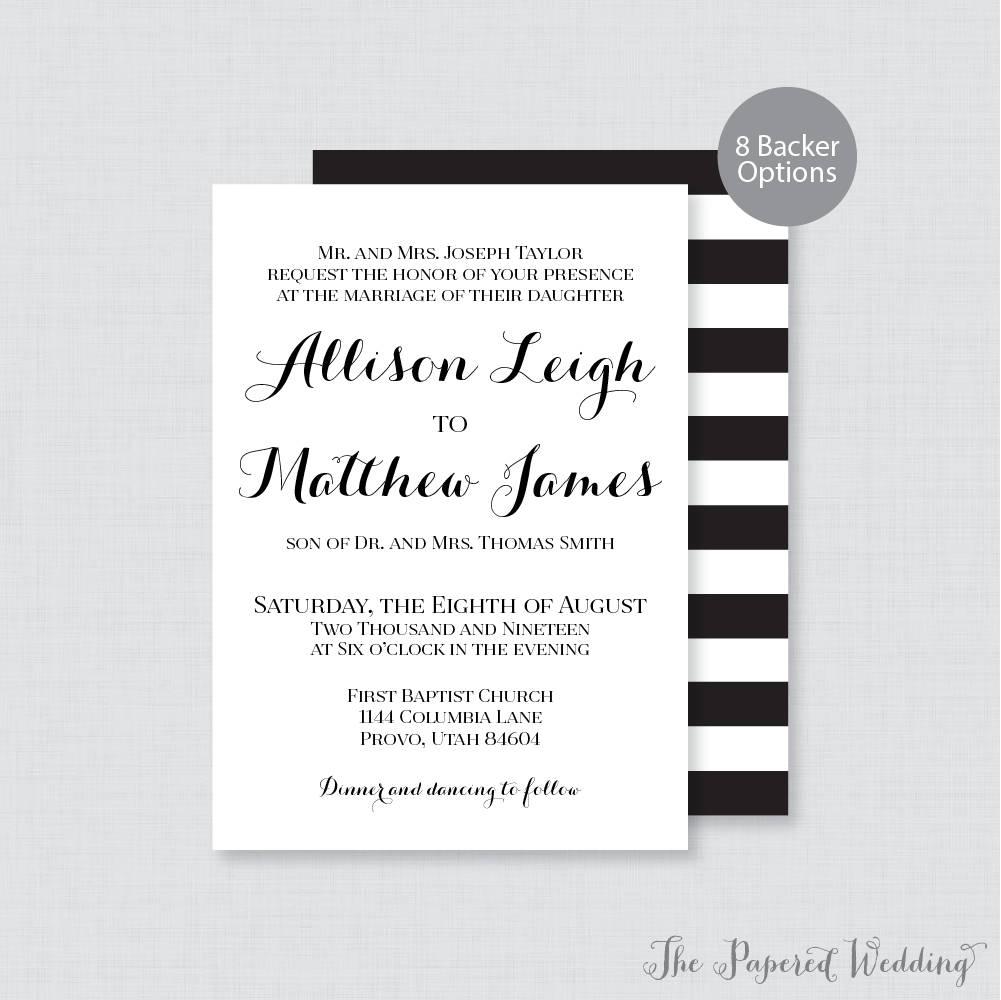 Printable or printed wedding invitations black and white description printable or printed wedding invitations monicamarmolfo Images