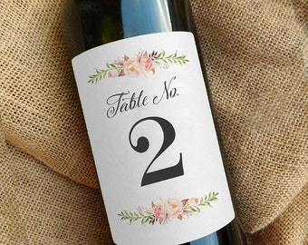 Wedding Table Number Labels for Wine or Glass Bottles \\ Watercolor Floral