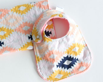 Baby Girl Gift Set Bib and Burp Cloth Arizona Agave Field
