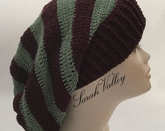 Women's cotton hat, crochet slouchy beanie, women's knit beanie hat gift, striped beanie hat, baggy beanie in cashmere and cotton