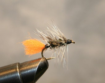 Fishing - Blaze Orange Peacock Bomber Variant - Fly Fishing Flies - Peacock Herl wrapped - Grizzly Hackle - Orange Tail - Number 10 Hook
