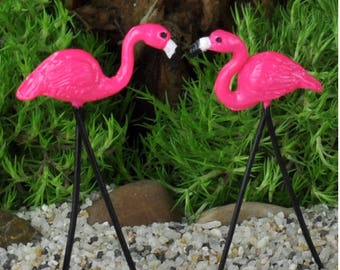 Dollhouse Miniature Fairy Garden 2 Pc Flamingo Set