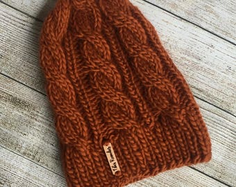 NEW PRICE | Pumpkin Cabled Hat | Pumpkin Orange | Ready to Ship | Hand Knit | Made in Michigan