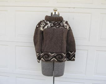 Vintage chunky knit wool sweater with geometric trim, wool brown sweater, 100% wool, S/XS