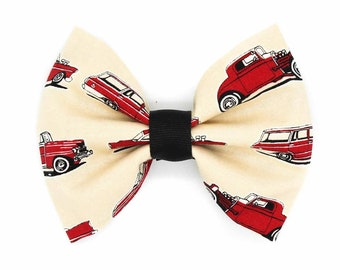 Red Classic Hot Rod Cars Fabric Hair Bow Clip