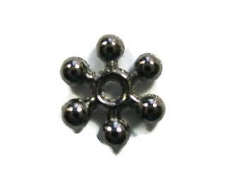 Snowflake Spacer Beads Gunmetal Toned Brass Plated 8.5 mm