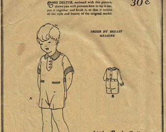 Vintage 1920s Pattern Unused Boys Girls Toddler Jumpsuit Playsuit Size 2 Chest 21 Butterick 1192