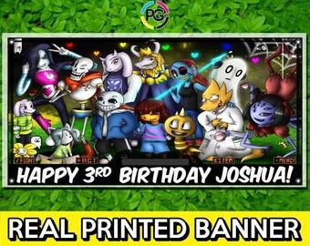 Undertale Printed Happy Birthday Vinyl Banner Personalized Custom Name