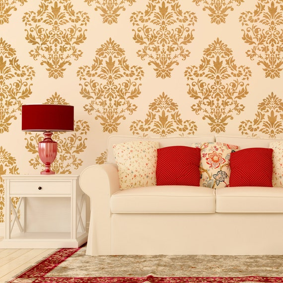 Damask Wall stencil pattern Ludovica for DIY Home decor