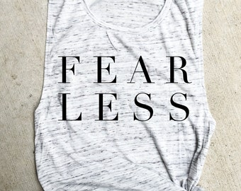 FEARLESS Muscle Tee, fit mom funny  workout tank, Beachbody gym shirt, yoga, funny shirt, workout shirt