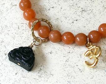 Buddha Bar Bracelet Red Aventurine And Ohm Charm