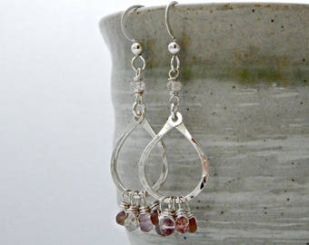 love in the air. chocolate moonstone lepidocrocite fluorite zircon. sterling silver. valentine's day gift. romantic gift. blush tones. peach