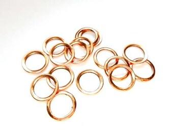 20 Rose Gold Plated Jump Rings 12mm, Closed Loop - 9-RG-12