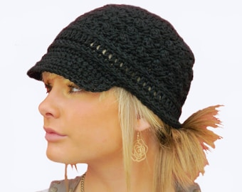 crochet newsboy hat pattern - textured newsboy cap crochet pattern - crochet pattern -
