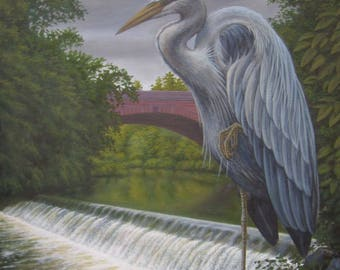The Heron (Monarch of the River Kelvin). Original Painting.