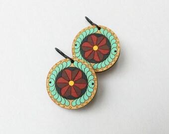 Round Painted Wood Flower Earrings
