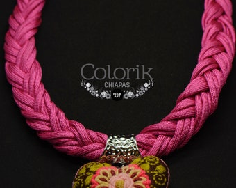 Mexican jewelry, colorful necklace, embroidery heart.