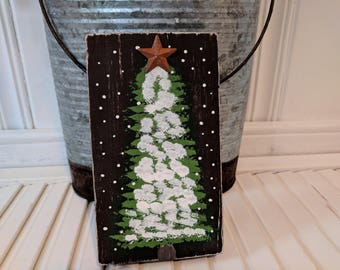 Handmade primitive distressed wooden sign -Snowy Christmas tree