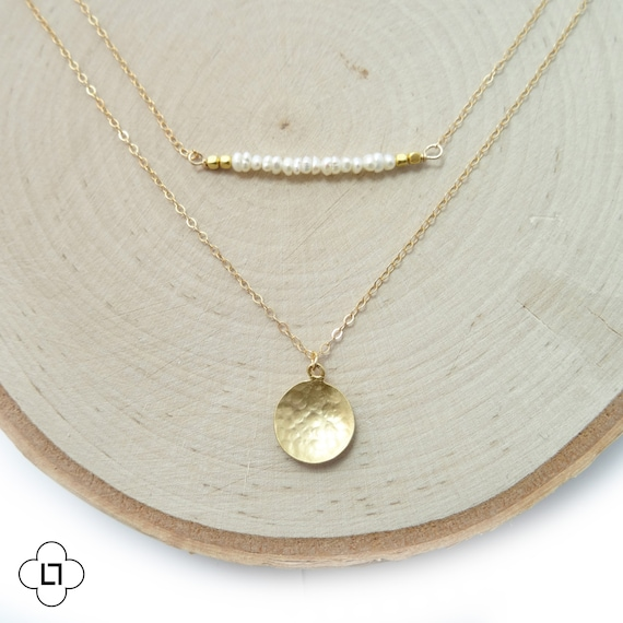 Gold Coin + Freshwater Pearl Bar Necklace