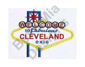 Cleveland, Ohio - Machine Embroidery Design, Cleveland, Ohio
