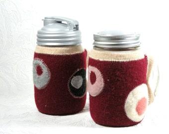handled canning jar travel mug with reversible cozy