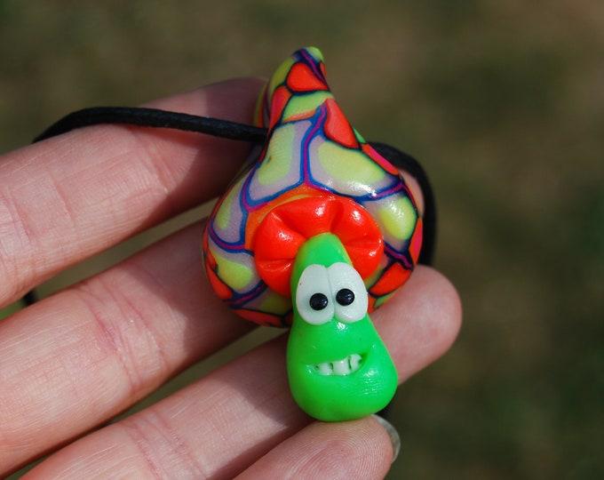 Happy Mushroom UV Blacklight Handsculpted Clay Necklace