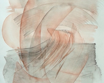 """Original abstract painting, large watercolor. 19.7""""x25.8"""" Red and Grey Gestural artwork. Transparent layers. Fine art Living room decor"""