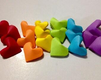 3D Rainbow paper hearts