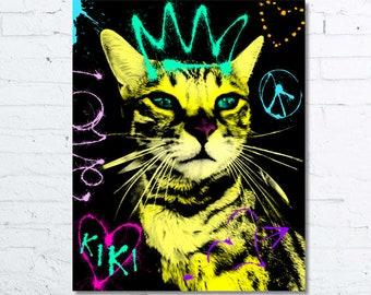 Custom Cat portrait, Cat portraits, Pet portraits, Cat art, Pop art, template