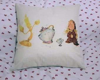 beauty and the beasts lumiere cogsworth mrs potts and chip   inspired cushion cover 45 by 45 cm  gift