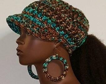 Bohemian PonyTail Crochet Baseball Cap with Hoop Earrings  by Razonda Lee Razondalee Made to Order