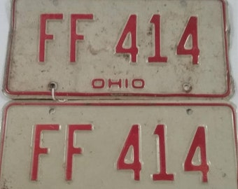 10%OFF3DAYSALE Vintage  ohio license plate pair ff 414