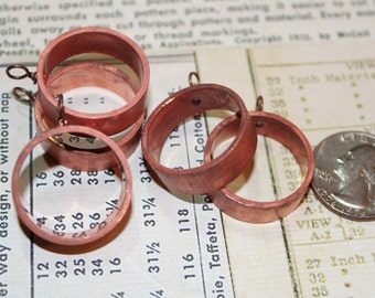 Upcycled Copper Pipe Pendant Bezel - Open Back for Resin, Polymer, etc. Bright with 1 Loop - Set of 5