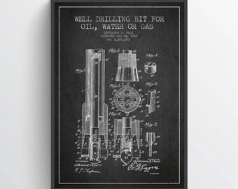 1920 Well Drilling Bit Patent,  Oil Drilling Patent, Oil Drill,  Home Decor, Gift Idea, PFEN05P