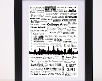 San Diego Communites and Neighborhoods Skyline Poster Americas Finest City Print