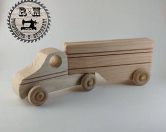 Wood Toy, Wood Semi, Semi Tractor and Trailer