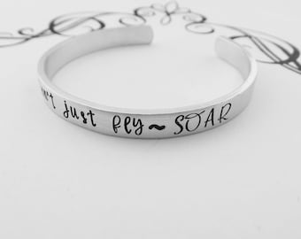 Inspirational Jewelry - Don't just fly ~ SOAR - Hand Stamped Feather Bracelet - Motivational - Graduation Gift - Quote Jewelry