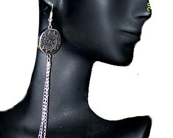 Aztec Sun Chain Earrings
