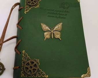 Butterfly Steampunk leather journal - Vintage wedding guest book - diary - Steampunk accessories -Christian notebook - steampunk diary