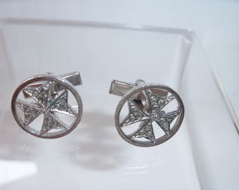 Unusual Marcasite Maltese Cross Cuff Links