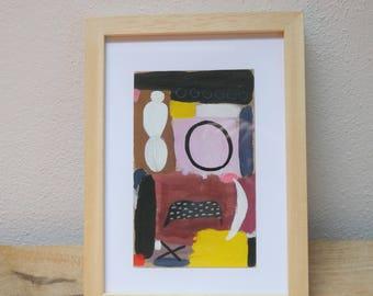 ORIGINAL modern abstract gouache painting on paper- 18 cm x 11 cm - abstract art - colourful wall art - wall decor - modern art