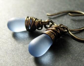 Blue Earrings. Wire Wrapped Earrings in Bronze - Elixir of Blue Skies. Handmade Earrings.