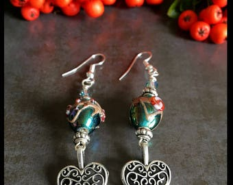 Turquoise lampwork earrings, drop, boho,  lampwork, turquoise, womens earrings, gift for her, mothers day gift, birthday
