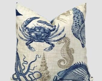 Sealife Outdoor Solarium Pillow Navy Blue Tan Throw Pillow Cushion Cover Decorative Coastal Pillows Richloom Euro Lumbar 16X16 18X18 20X20