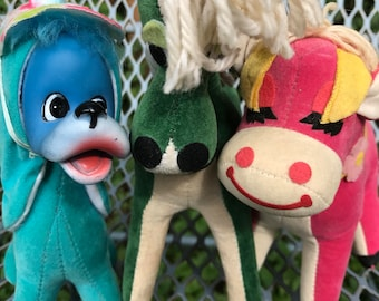 Instant Collection of 3 Vintage Stuffed Animals / Lazy Daisy Pink Cow / Green Pony / Rubber Face / R Dakin Japan / T.K.R & Dream Pets