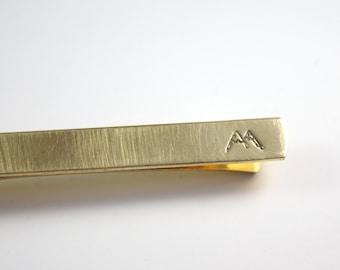 Gold Mountain Tie Bar - Mountain Tie Clip - Hidden Message -  Gold Tie Bar - Tie Clip - Gift for Him - Adventure Tie Bar Clip - Brass