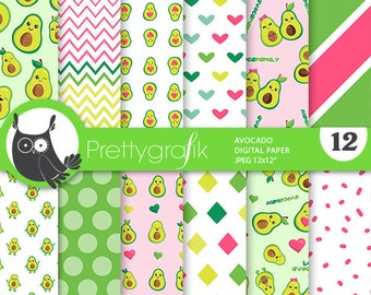 80% OFF SALE Avocado digital papers, commercial use, Avocado scrapbook papers, Avocado papers, background - PS916