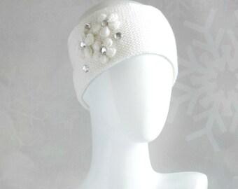 White knit headband with rhinestones and flowers for women Handknit headband earwarmer Warm and soft wool headband Girlfriend birthday gift
